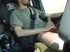 French trucker jerks his cock while driving