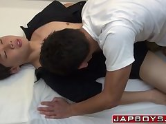 Young jap twinkie couple craving for hard anal fucking