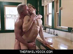 Blonde Twink Grandson Bar Addison Sex With His Hunk Grandpa Dale Savage In Family Kitchen
