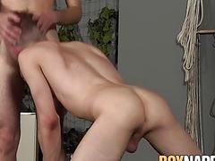 Submissive young gay tied up before anal fuck by dom twink