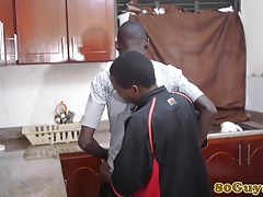 African amateurs giving head in the kitchen