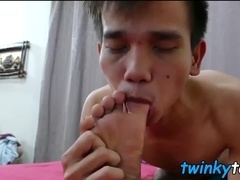 Two horny twink feet lovers enjoy a raw fucking session