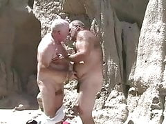 Two mature old gay grandpa playing with each other