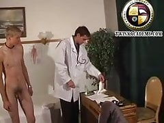 Cute blond twink has his first physical exam