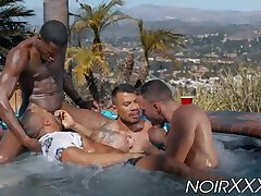 Outdoor interracial anal foursome fucking in a hot tub