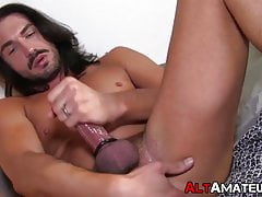 Alt amateur with long hair sliding toy in his rectum