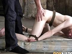 Tied twink spanked and fucked doggystyle