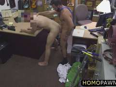 Hunk handsome pawnshop owner suggested to get his ass fucked by an old man
