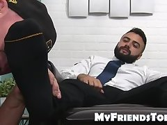 Bearded muscular freaks freaky feet are sucked on by a stud