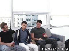 Young twink barebacked hard by his stepdad and stepbrother