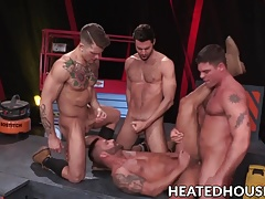 Kinky knob jockeys have hardcore foursome fuck session