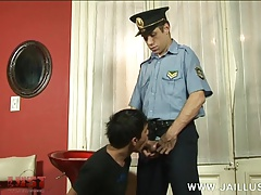 Horny old cop bullies a lad into a deep throat job
