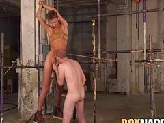 Bound twink is whipped as his master gives him a blowjob