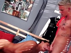 Blonde twink and latino twink flip flop fuck