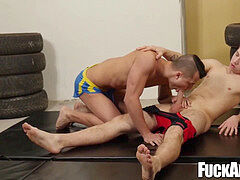 Hot jock rails wrestler lad after a warm matchup with him