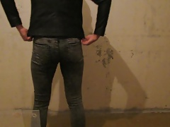 Gay in grey tight jeans