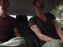 Skinny twink bitch Adam Watson has anal threesome in the car