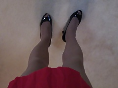 Walking in my heels and pantyhose