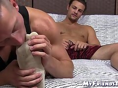 Relaxed amateur feet licked while jacking off and cumming
