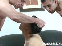 Skinny twink cumslut barebacked by two daddies 3way