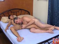 Cute Asian twink Andrew enjoys a hard raw cock deep inside