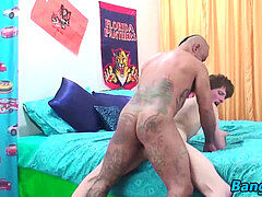Horny twink rides tattoed daddies fat rigid salami on the bed